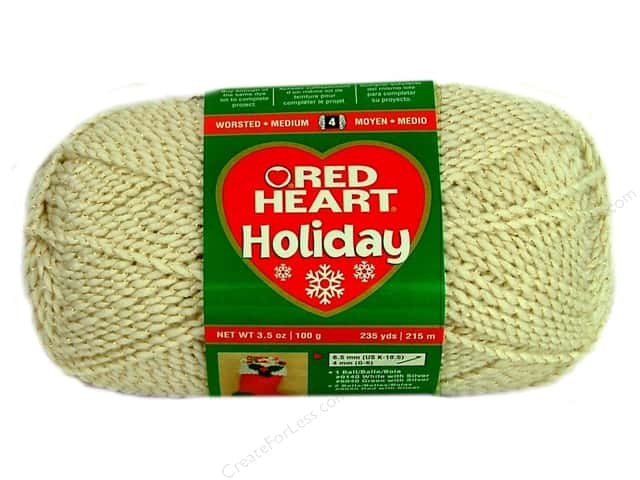 Red Heart Holiday Yarn #1360 Aran/Gold 235 yd.