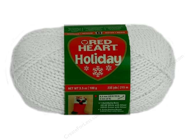 Red Heart Holiday Yarn #140 White/Silver 235 yd.