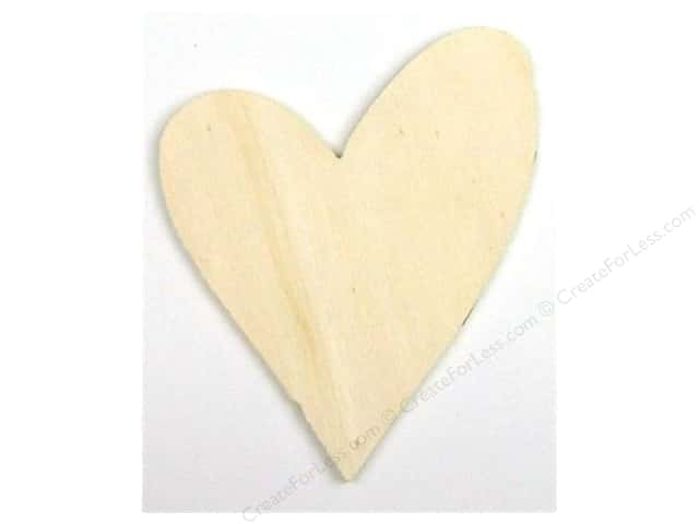 Darice Unfinished Wood Shape 4 x 3 1/4 in. Funky Heart (24 pieces)