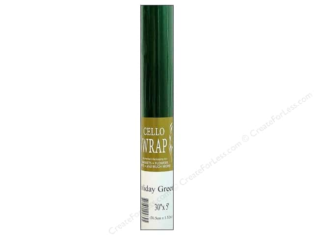 Cello Wrap 30 in. x 5 ft. Solid Holiday Green