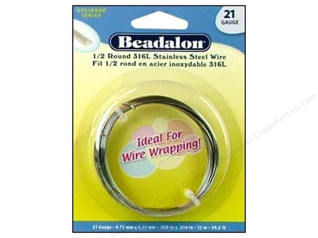 Beadalon Stainless Steel Wire Half Round 316L 21Ga 39.4 ft.