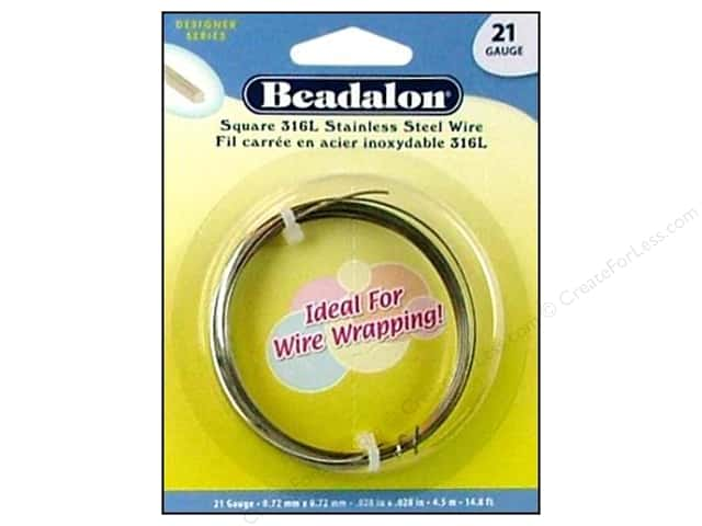 Beadalon 316L Stainless Steel Wrapping Wire Square 21 ga 14.8 ft.