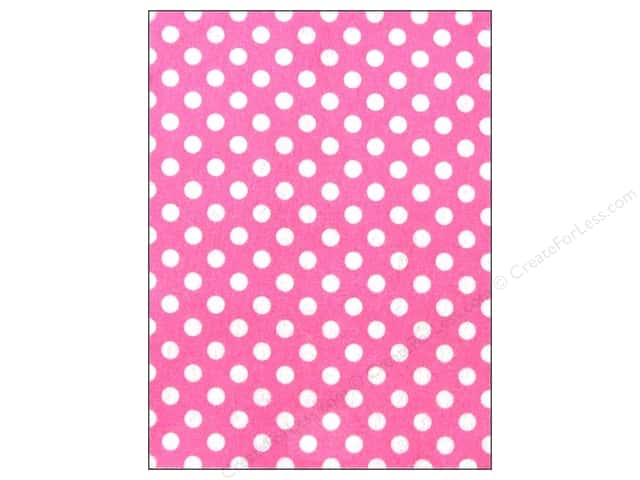 CPE Printed Felt 9 x 12 in. Polka Dot Pink (12 sheets)