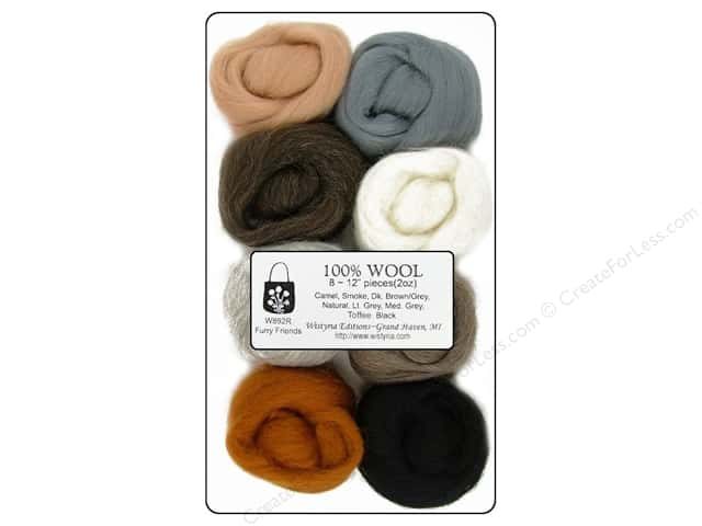 Wistyria Editions 100% Wool Roving 8 pc. Furry Friends