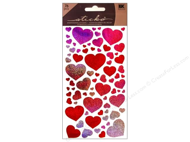 EK Sticko Stickers Metallic Blissful Hearts