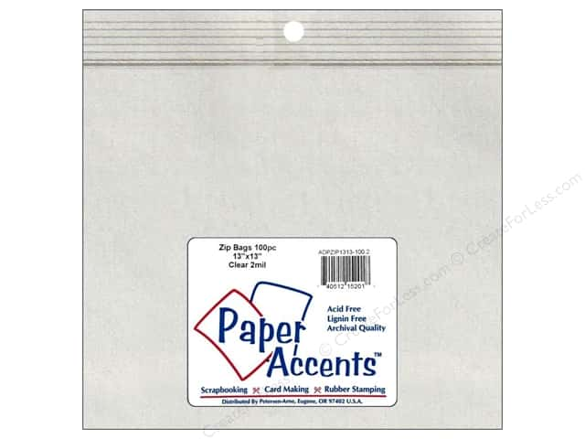 Paper Accents 2 Mil Zip Bags 13 x 13 in. Clear 100 pc.