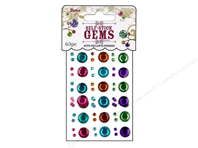 Darice Self-Stick Gems 3 - 10 mm Round 63 pc. Vibrant