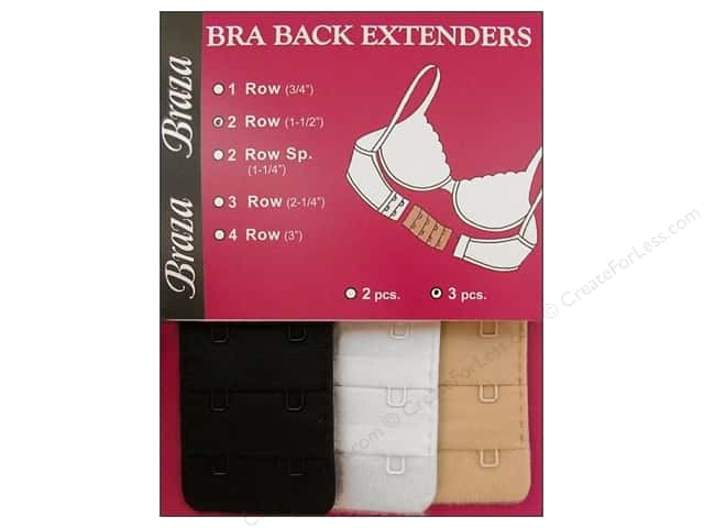 Braza Bra Extender 1 1/2 in. 2 Hook 3 pc. Assorted