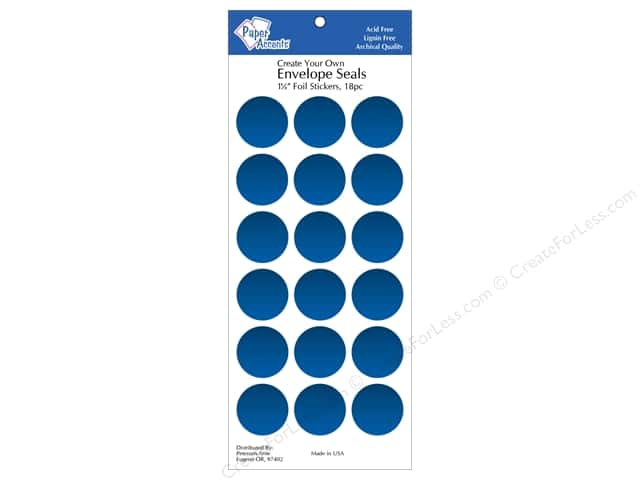 Paper Accents Envelope Seals 1 1/8 in. Blue Foil 18 pc.