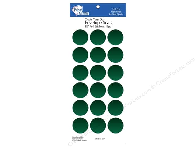Paper Accents Envelope Seals 1 1/8 in. Green Foil 18 pc.