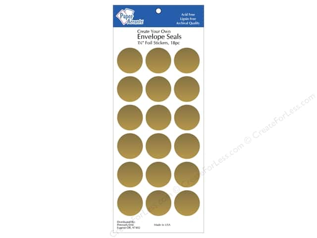 Paper Accents Envelope Seals 1 1/8 in. Gold Foil 18 pc.