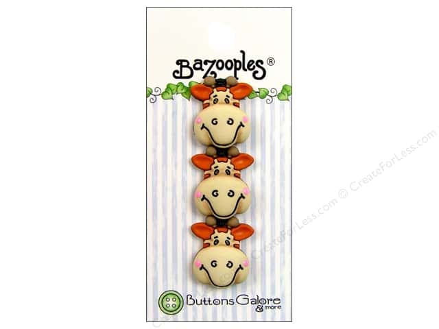 Buttons Galore Theme Button BaZooples Gertrude The Giraffe 3pc