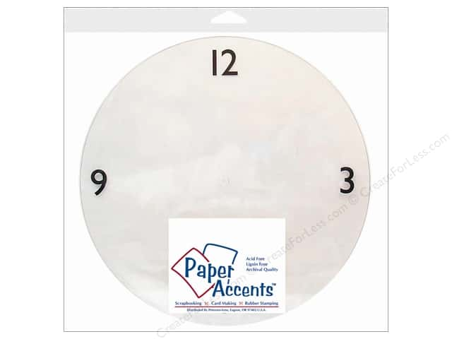 "Paper Accents Clock Faces 10 5/8"" 3-6-9-12 Clear Plastic 1pc"