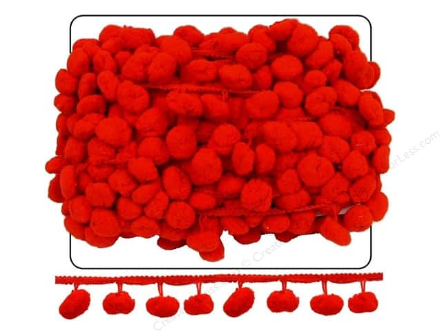 Pom Fringe by Cheep Trims 1 1/2 in. Red (18 yards)