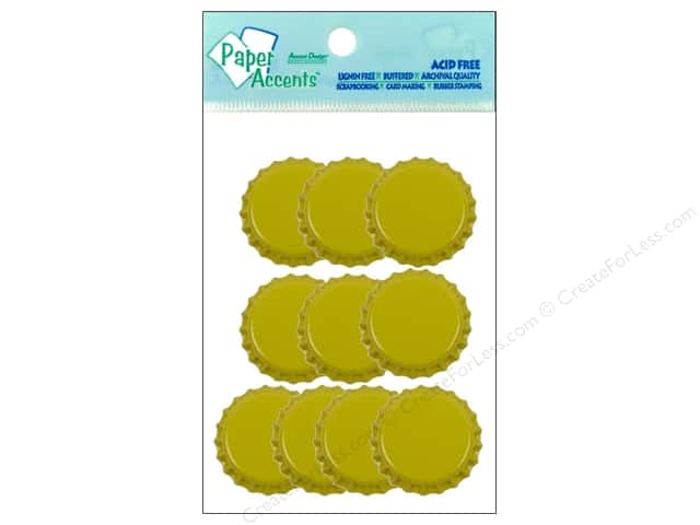 Paper Accents Bottle Caps 10pc Yellow