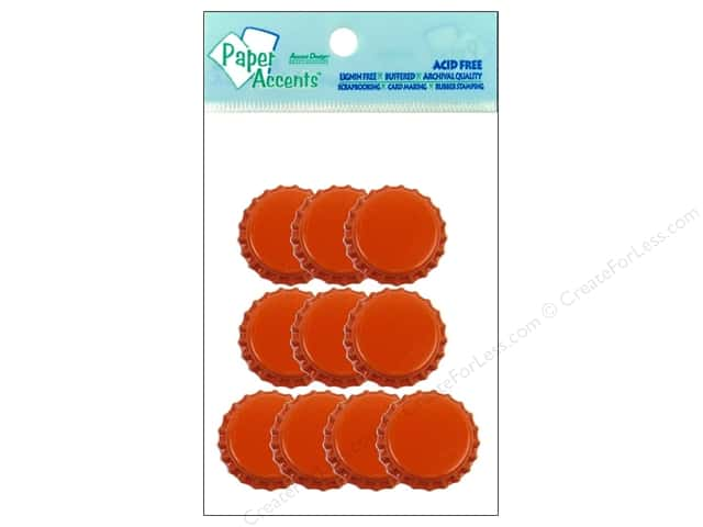 Paper Accents Bottle Caps 10pc Orange