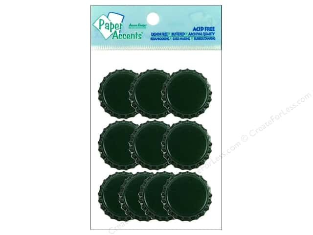 Paper Accents Bottle Caps 10pc Dark Green