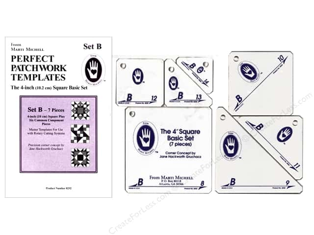 Marti Michell Perfect Patchwork Templates Set B - 4 in. Square