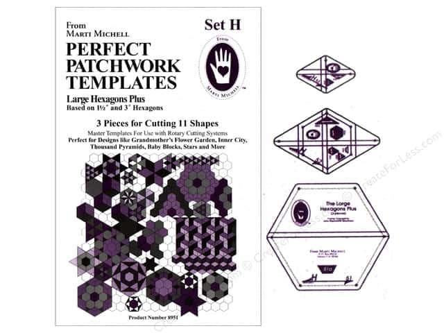 Marti Michell Perfect Patchwork Templates Set H - Large Hexagons