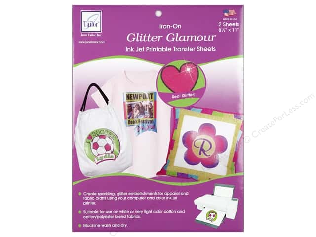 June Tailor Glitter Glamour Iron-On Inkjet Transfer Sheets 2 pc.