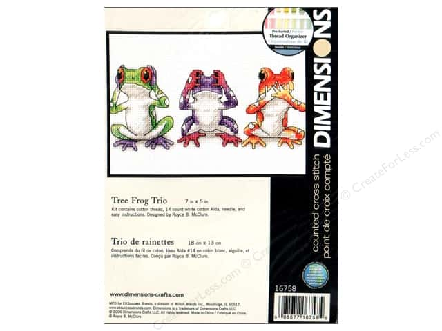 Dimensions Cross Stitch Kit 7 in. x 5 in. Tree Frog Trio