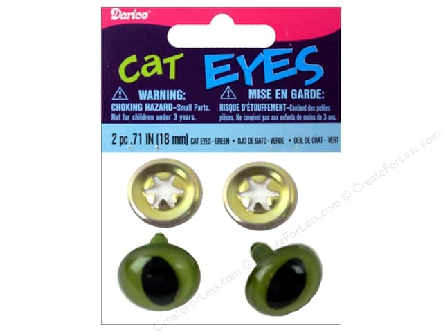 Darice Cat Eyes with Metal Washers 18 mm Green 6 pc.
