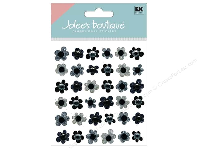 Jolee's Boutique Stickers Black Flowers