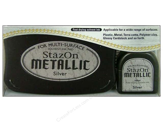 Tsukineko StazOn Large Solvent Ink Stamp Pad Metallic Silver
