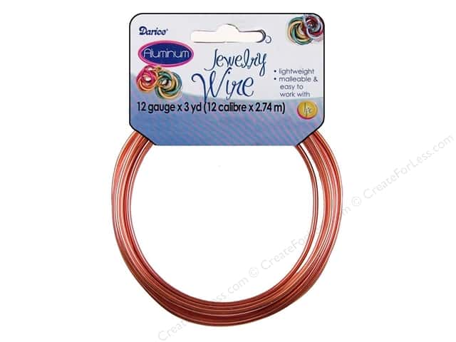 Darice Aluminum Jewelry Wire 12 Gauge Copper 3 yd.