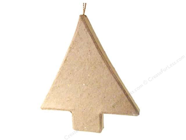PA Paper Mache Flat Tree Ornament 3 3/8 in.