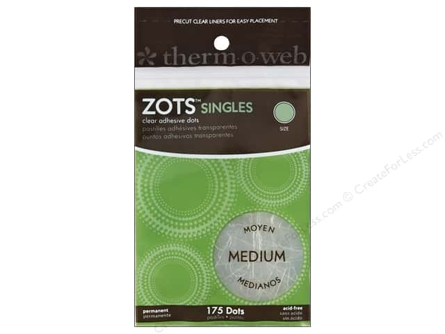 Therm O Web Zots Clear Adhesive Dots 175 pc. 3/8 x 1/64 in. Singles Medium