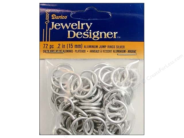 Darice Jewelry Designer Jump Rings 5/8 in. Aluminum Silver 72 pc.