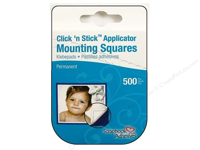 3L Scrapbook Adhesives Click 'n Stick Mounting Squares 500 pc. White