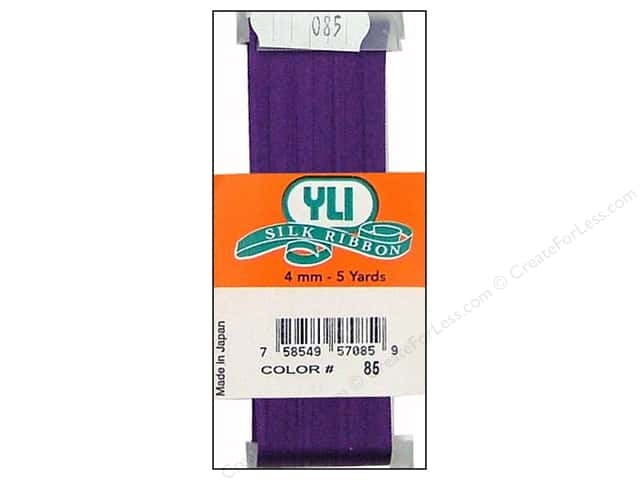 YLI 4 mm Silk Ribbon for Embroidery #085 Royal Purple 5 yd.