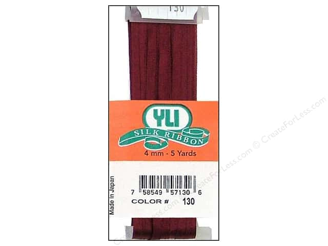 YLI 4 mm Silk Ribbon for Embroidery #130 Burgundy 5 yd.