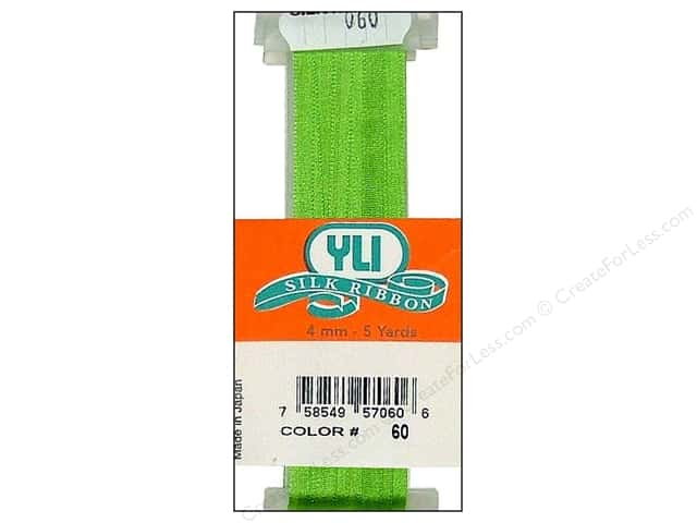 YLI 4 mm Silk Ribbon for Embroidery #060 Light Leaf Green 5 yd.