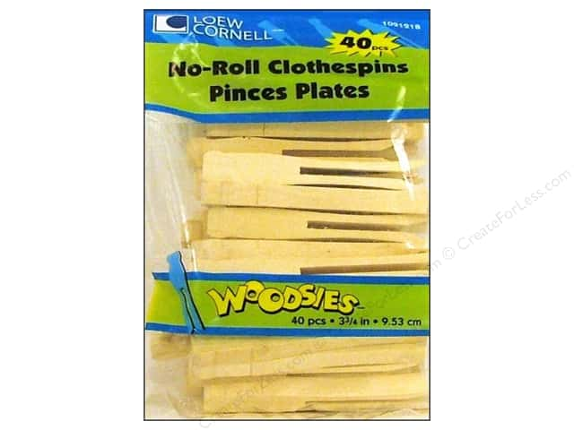 Woodsies No-Roll Slotted Clothespins 40 pc.