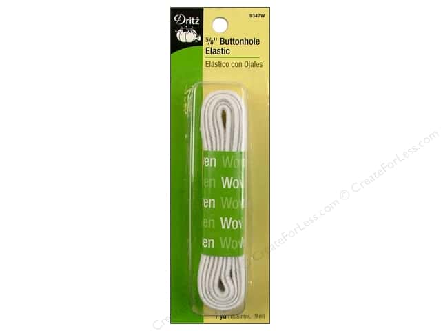 Dritz Buttonhole Elastic 5/8 in. x 1 yd. White