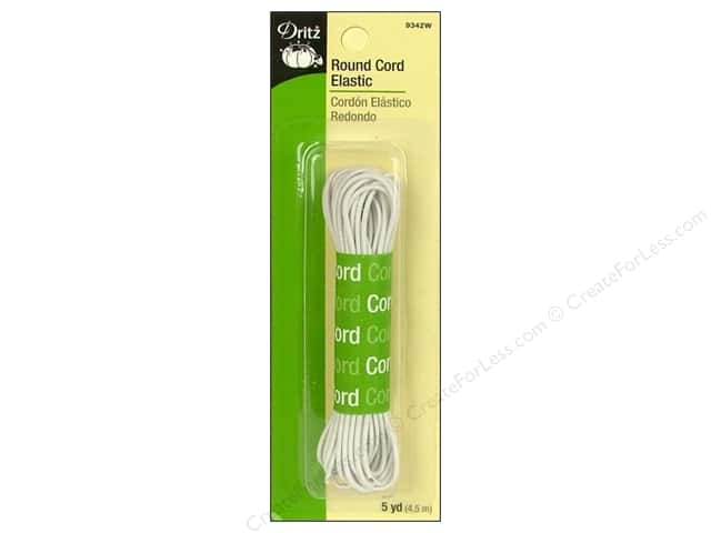 Round Cord Elastic by Dritz White 5 yd