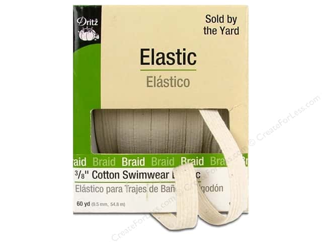 Swimwear Elastic Cotton by Dritz Natural 3/8 in x 60 yd (60 yards)