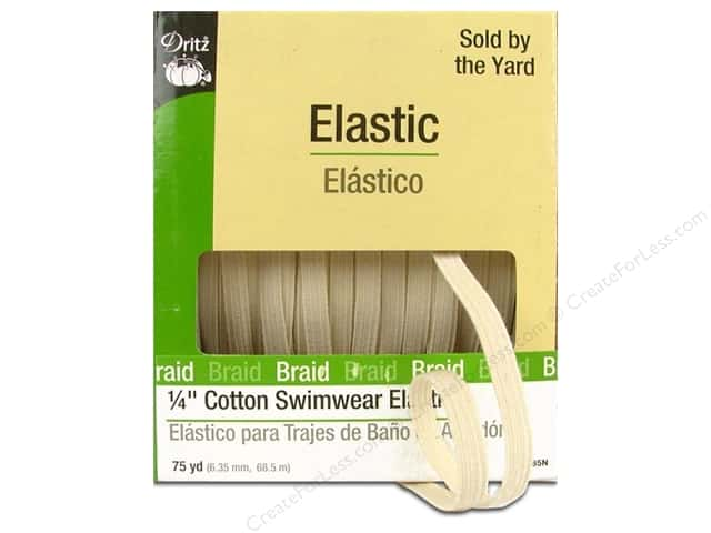 Swimwear Elastic Cotton by Dritz Natural 1/4 in x 75 yd (75 yards)