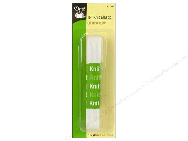 Knit Elastic by Dritz White 1/2 in. x 1 1/4 yd.