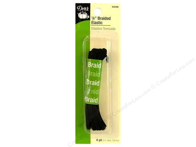 Braided Elastic by Dritz Black 1/8 in x 4 yd