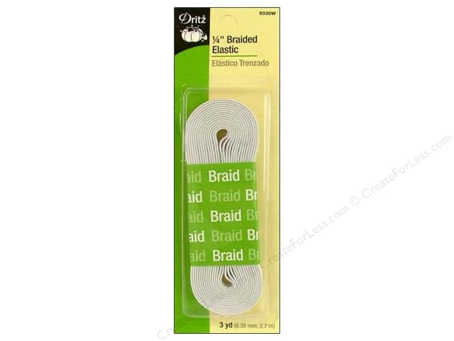 Braided Elastic by Dritz White 1/4 in x 3 yd