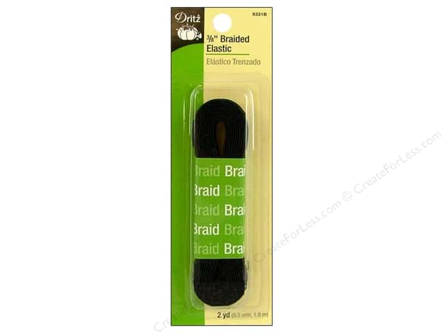 Braided Elastic by Dritz Black 3/8 in x 2 yd