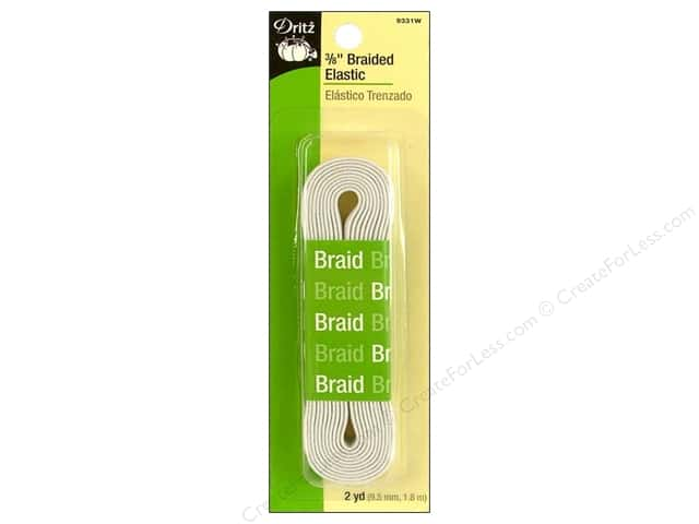 Braided Elastic by Dritz White 3/8 in x 2 yd