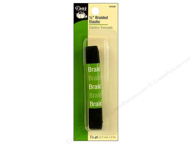 Braided Elastic by Dritz Black 1/2 in x 1 1/2 yd