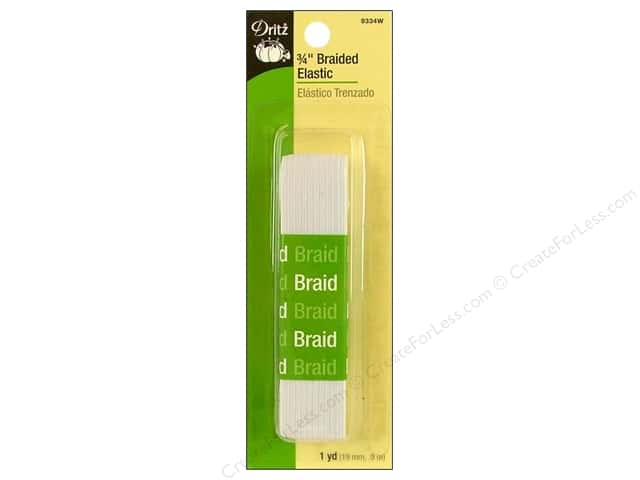Braided Elastic by Dritz White 3/4 in x 1 yd