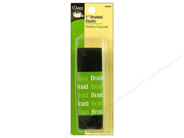 Braided Elastic by Dritz Black 1 in x 1 1/4 yd