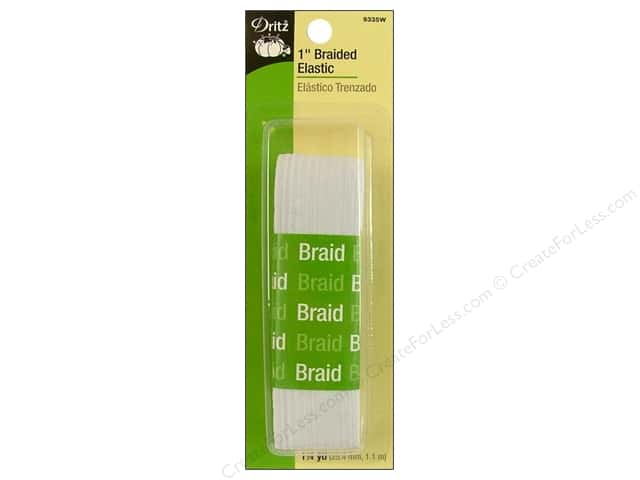 Braided Elastic by Dritz White 1 in x 1 1/4 yd